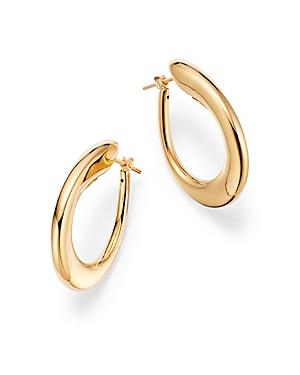 14K Yellow Gold Tapered Hoop Earrings