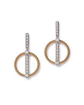Marco Bicego - 18K Yellow and White Gold Diamond Pave Circle Earrings - 100% Exclusive