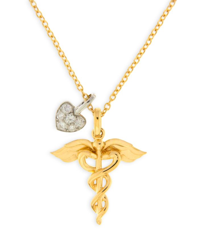 """Bloomingdale's Diamond Heart & Medical Pendant Necklace in 14K Yellow Gold 17"""", 0.07 ct. t.w. - 100% Exclusive  