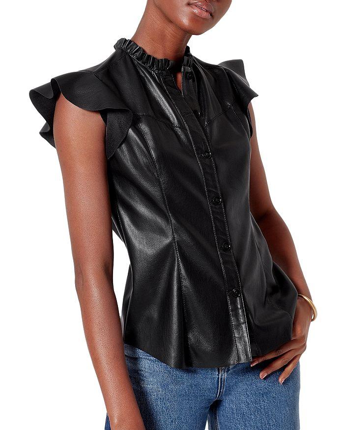 Joie - Orien Ruffled Faux Leather Top
