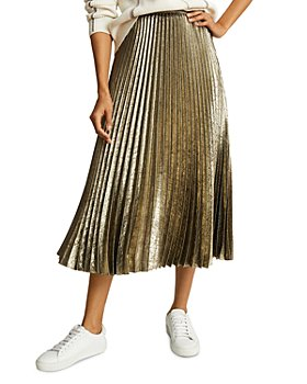REISS - Gemma Metallic Pleated Skirt