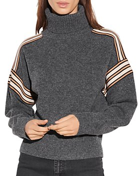 Sandro - Wynn Striped Trim Turtleneck Sweater