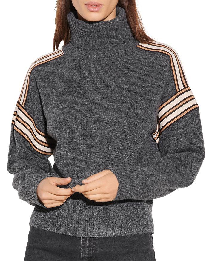 Sandro - Wynn Striped Trim Turtleneck Sweater