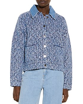 Sandro - Jeny Denim Collar Cropped Tweed Jacket