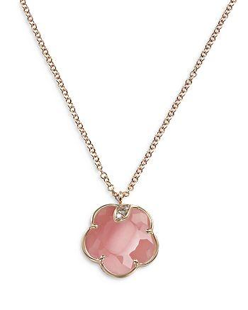 "Pasquale Bruni - 18K Rose Gold Petit Joli Pink Chalcedony & Diamond Flower Pendant Necklace, 16.75"""