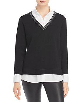 KARL LAGERFELD PARIS - Beaded Layered Look Sweater