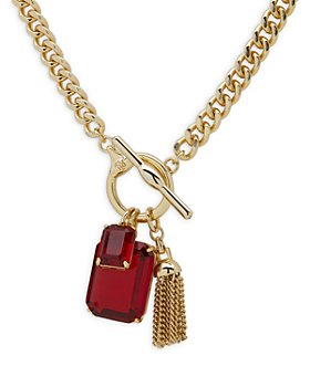 Ralph Lauren - Red Stone & Chain Tassel Pendant Necklace in Gold Tone, 17""