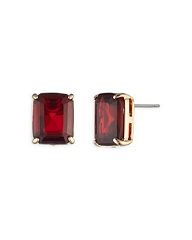 Ralph Lauren - Red Stone Stud Earrings in Gold Tone