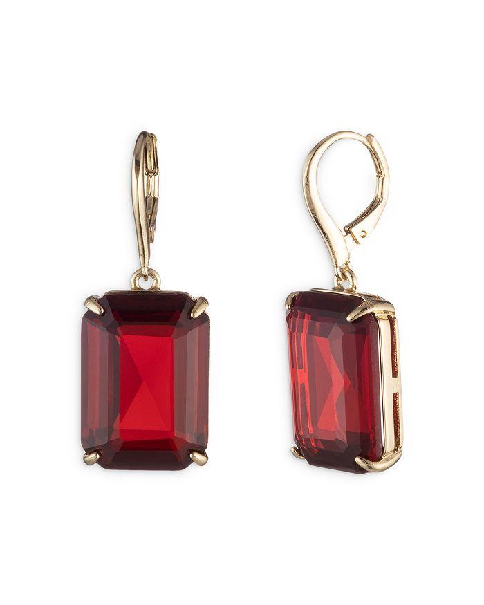 Ralph Lauren - Red Stone Drop Earrings in Gold Tone