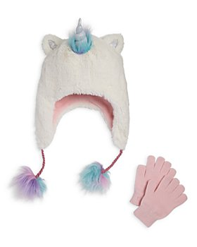 Capelli - Girls' Unicorn Faux Fur Hat & Gloves Set - Little Kid, Big Kid