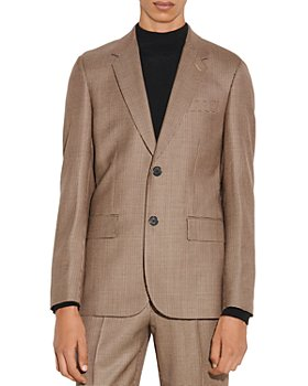 Sandro - Houndstooth Jupiter Beige Wool Suit Jacket