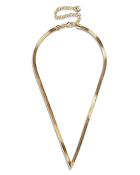 "BAUBLEBAR - Gia Snake Chain V Shape Necklace in Gold Tone, 16""-19"""