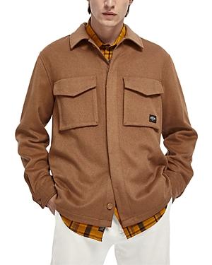 Scotch & Soda Wool Blend Brushed Regular Fit Button Down Over Shirt-Men