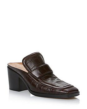 Bottega Veneta - Women's Square Toe Block Heel Embossed Leather Loafers