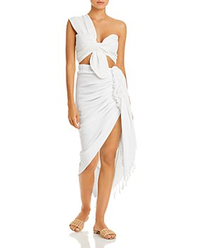 JUST BEE QUEEN - Sol Asymmetric Bandeau Top & Tulum Ruched Fringed Skirt