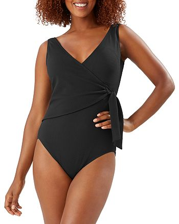 Tommy Bahama - Pique Colada Wrap Front One Piece Swimsuit