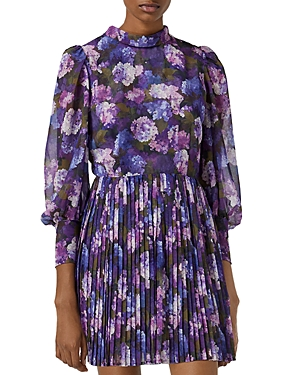 The Kooples FLORAL PRINT PLEATED MINI DRESS