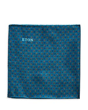 Eton Petrol Floral Grid Silk Pocket Square