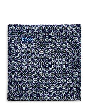 Eton Medallion Grid Silk Pocket Square