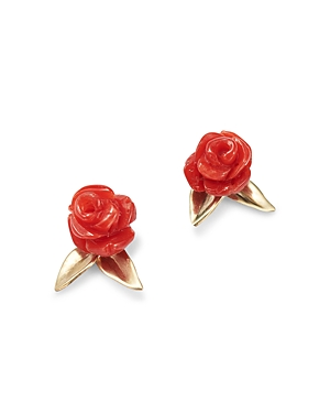14K Gold Red Coral Rose Garden Stud Earring