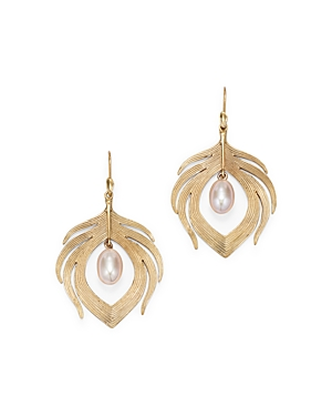 14K Yellow Gold Cultured Pearl Peacock Feather Drop Earrings