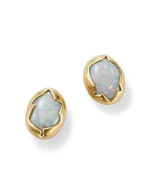 18K Yellow Gold Opal Stud Earrings