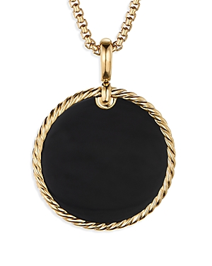 David Yurman Accessories LARGE CABLE DISC AMULET IN 18K YELLOW GOLD IN BLACK ONYX