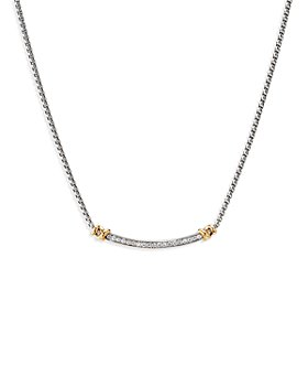 David Yurman - Sterling Silver Petite Helena Station Necklace with 18K Yellow Gold & Diamonds, 17""