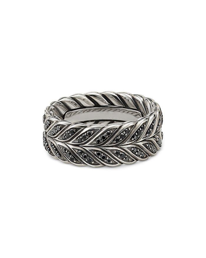 David Yurman - Chevron Band Ring with Black Diamonds