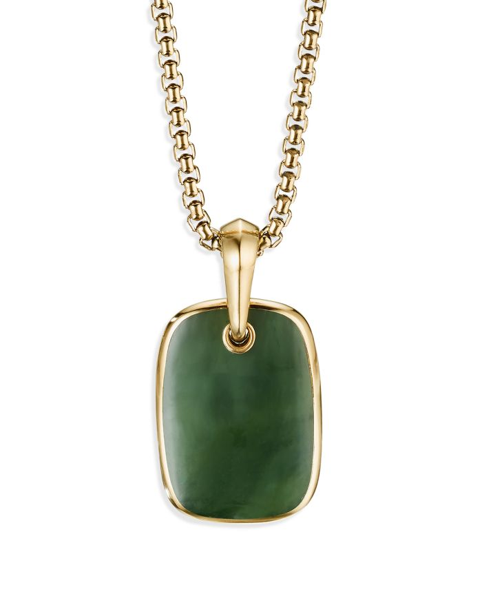 David Yurman Tablet Amulet in 18K Yellow Gold with Nephrite Jade    Bloomingdale's