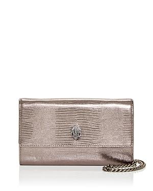 Kurt Geiger London Kensington Lizard Embossed Leather Chain Wallet-Handbags