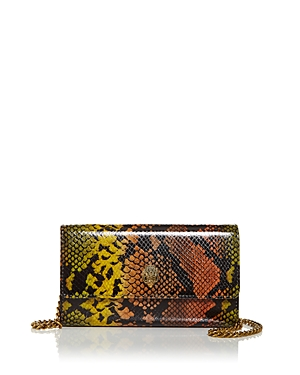 Kurt Geiger London Snake Embossed Leather Chain Wallet-Handbags