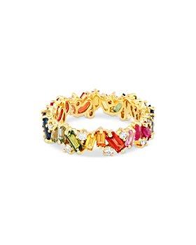 SUZANNE KALAN - 18K Yellow Gold Rainbow Sapphire & Diamond Fireworks Eternity Band
