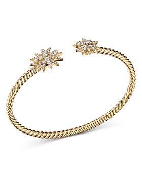 David Yurman - 18K Yellow Gold Starburst Open Cable Bracelet with Diamonds