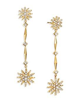 David Yurman - 18K Yellow Gold Starburst Long Drop Earrings with Diamonds
