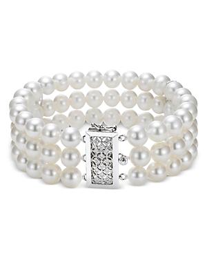 18K White Gold Three-Row Cultured Freshwater Pearl Strand Bracelet