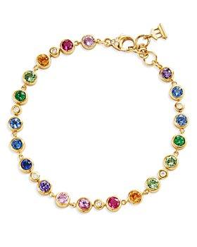 Temple St. Clair - 18K Yellow Gold Classic Multi-Gemstone & Diamond Rainbow Eternity Bracelet