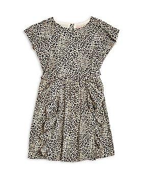 BCBG - Girls' Leopard Print Ruffled Crepe Dress - Little Kid, Big Kid