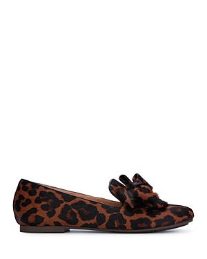 Women's Eugene Bow Accent Leopard Print Calf Hair Flats