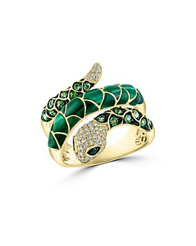 Bloomingdale's - Malachite, Tsavorite & Multicolor Diamond Snake Ring in 14K Yellow Gold - 100% Exclusive