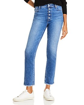 PAIGE - Cindy Button Fly Straight Leg Ankle Jeans in Skysong
