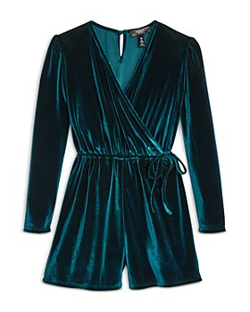 AQUA - Girls' Velvet Romper, Big Kid - 100% Exclusive