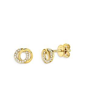 Moon & Meadow - 14K Yellow Gold Diamond Knot Stud Earrings - 100% Exclusive