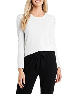 CeCe Embellished Puff Shoulder Top-Women