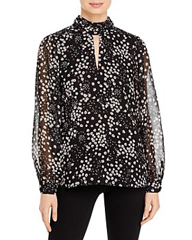 KARL LAGERFELD PARIS - Printed Keyhole Mock Neck Top