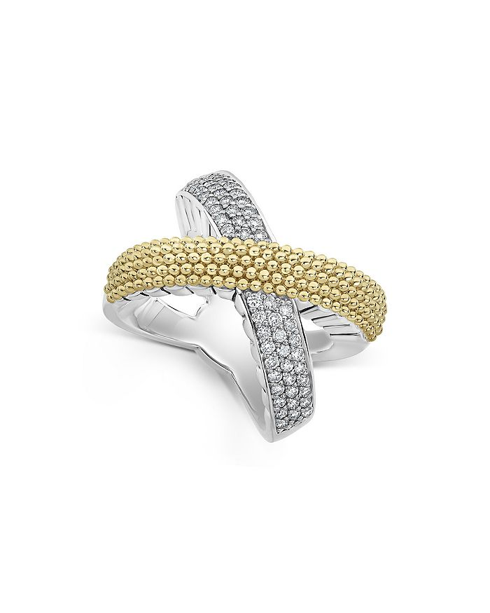 LAGOS - Sterling Silver & 18K Yellow Gold Caviar Lux Diamond Ring