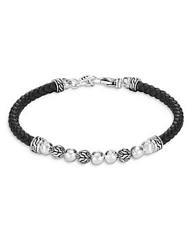 JOHN HARDY - Sterling Silver & Black Leather Classic Chain Hammered Silver Bracelet