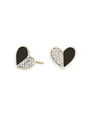 14K Yellow Gold Diamond & Black Ceramic Heart Stud Earrings