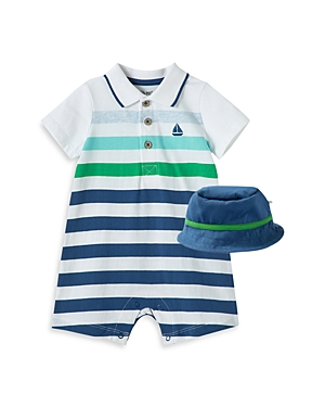 Little Me BOYS' STRIPED BOAT COVERALL & BUCKET HAT SET - BABY