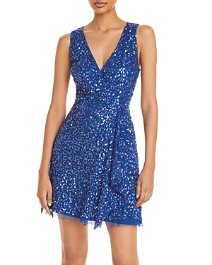Adrianna Papell SEQUIN EMBELLISHED CASCADE MINI DRESS